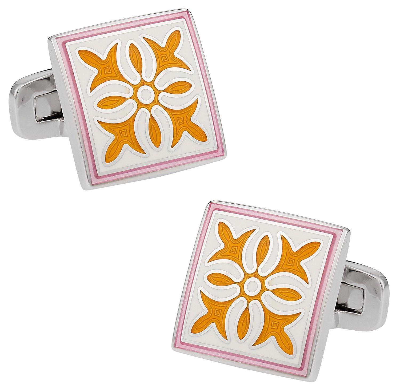 Cuff-Daddy Pink Yellow Enamel Cufflinks with Presentation Box