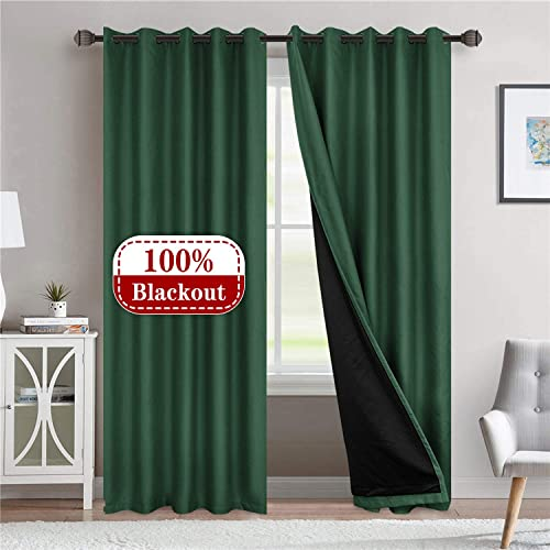 LoyoLady Hunter Green 100 Blackout Curtains 96 inches Long, Farmhouse Thermal Insulated Curtains for Living Room Decor, Set of 2 Panels 84 W x 96 L Grommet Blackout Lined Curtains for Bedroom