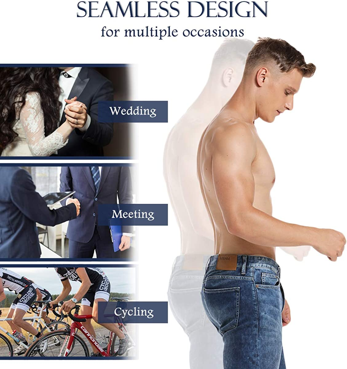 SLIMBELLE/® Men Padded Boxer Shorts Briefs Hip-Up Underwear Shaper Panty with Pads Buttocks Enhancer Butt Lifter Pants Shapewear Trunks