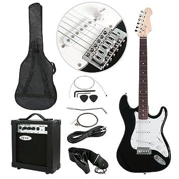 Tamaño completo verde/negro guitarra eléctrica bolsa de 10 W amplificador + funda + funda + correa para guitarra para principiantes + Cable: Amazon.es: ...