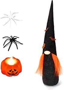 ITOMTE Handmade Swedish Gnome, Scandinavian Tomte, Yule Santa Nisse, Nordic Figurine, Plush Elf Toy, Halloween Table Decor Ornament, Halloween Decorations, Holiday Presents -16.5 Inches, Gold Bat