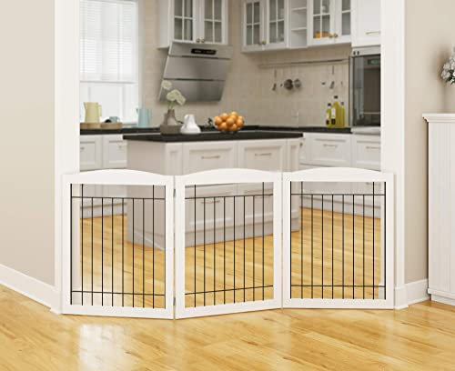 PAWLAND Wooden Freestanding Wire Pet Gate for Dogs, Step Over Fence, Dog Gate for The House, Doorway, Stairs, Extra Wide Tall Pet Safety Fence White, 30 Height 3 Panels