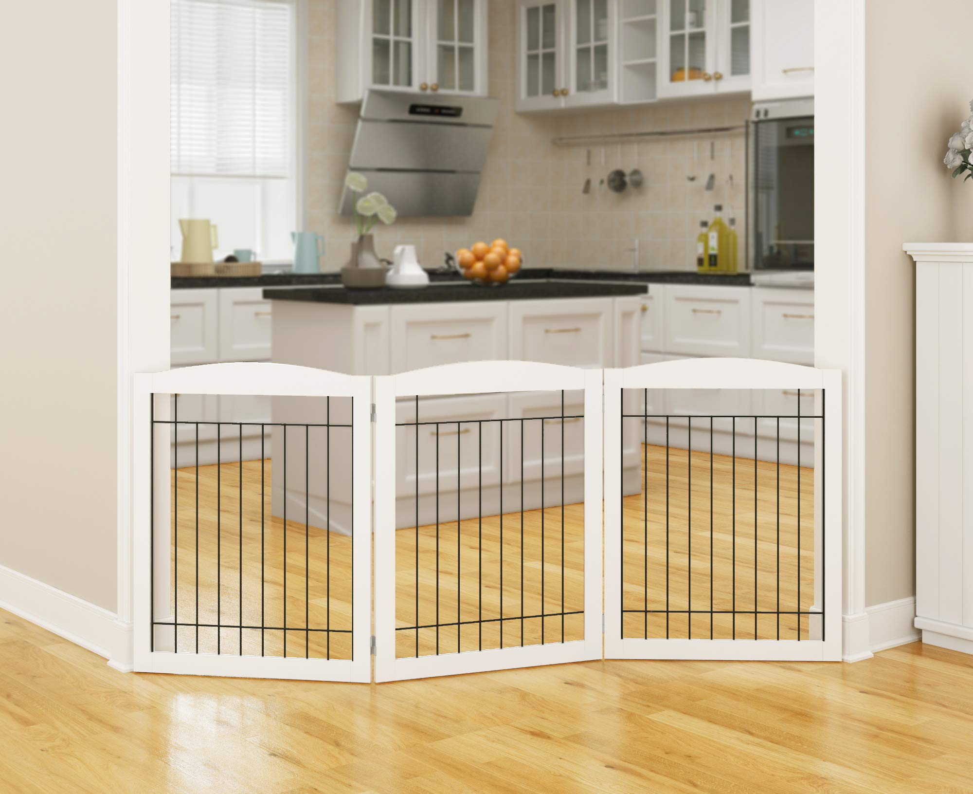 PAWLAND Wooden Freestanding Wire Pet Gate for Dogs, Step Over Fence, Dog Gate for The House, Doorway, Stairs, Extra Wide Tall Pet Safety Fence (White, 30'' Height 3 Panels)