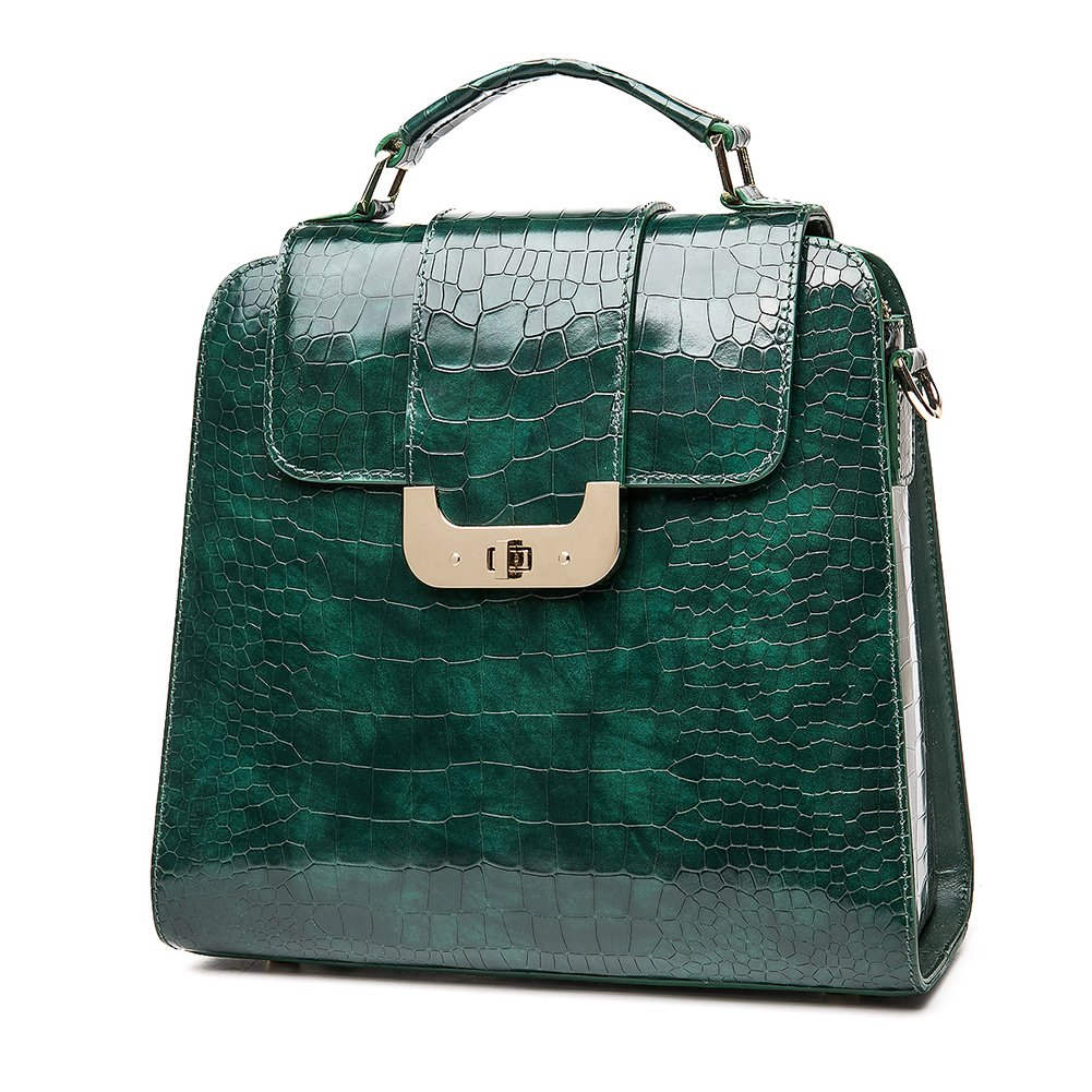 Genuine Leather Handbags for Women Bright Green Embossed-Crocodile Cowhide Top-handle Bags Satchels