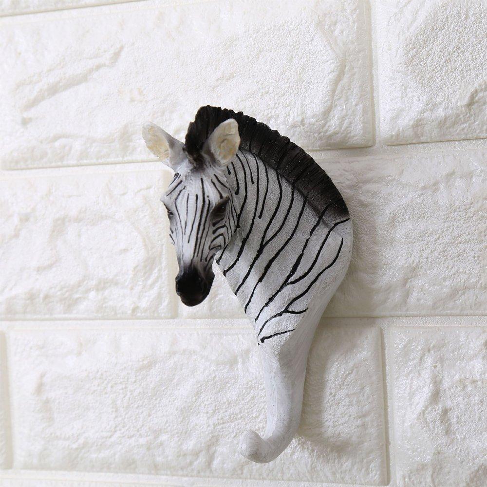 Zebra Head Single Decorative Wall Hook/Hanger Rustic Vintage Animal Shaped Coat Hat Hook Heavy Duty,Decorative Gift