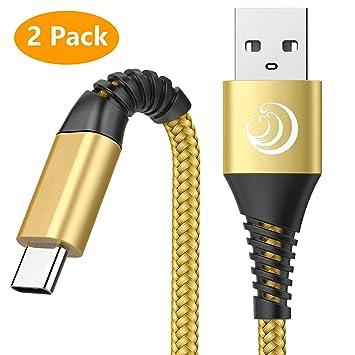 Yosou Cable USB Tipo C Cargador USB C 2M Cable Cargador 2Pack Trenzada de Nylon Cable Carga Rápida para Samsung S8 S9 S10 A30 A40 A50 A70 A20e,Huawei ...