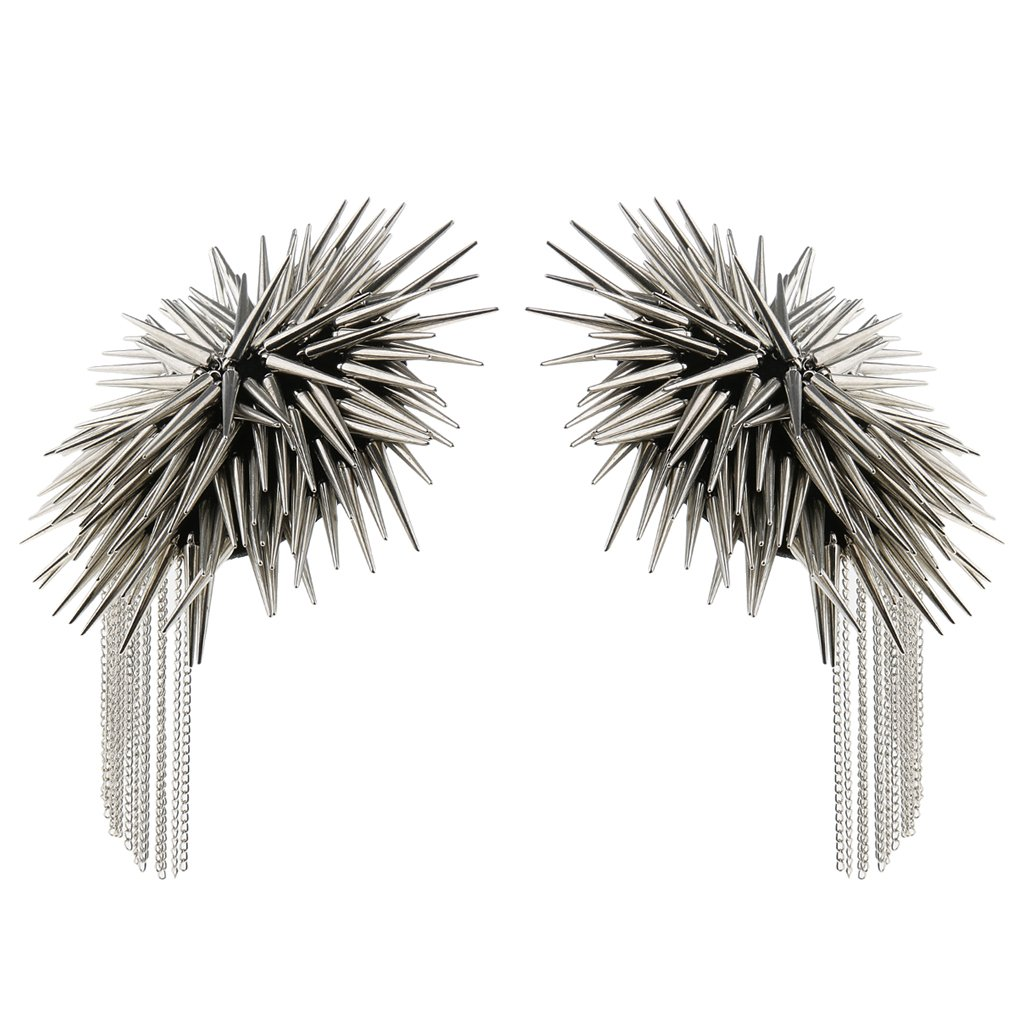 Baosity 1 Pair Metal Cloth Silver Gold Chain Tassel Brooch Epaulet Shoulder Board Mark Punk - Silver by Baosity (Image #1)