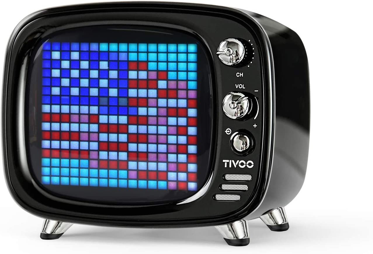 Divoom Tivoo - Altavoz Bluetooth retro, Pixel Art DIY Box, RGB programable 16 x 16 LED, compatible con Android y iOS; TF/SD tarjeta y AUX 3.9 x 3 x 3.3 pulgadas