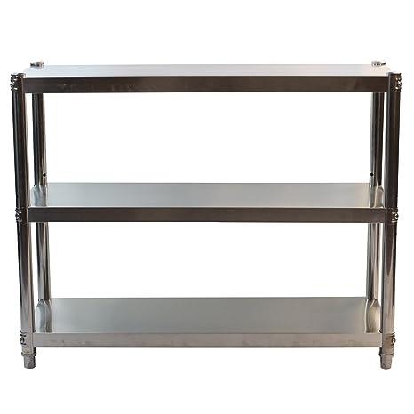 GoldbearUK Estantería de Cocina de Acero Inoxidable – solución higiénica de Almacenamiento de Cocina – 3 Niveles, Large 100x80cm