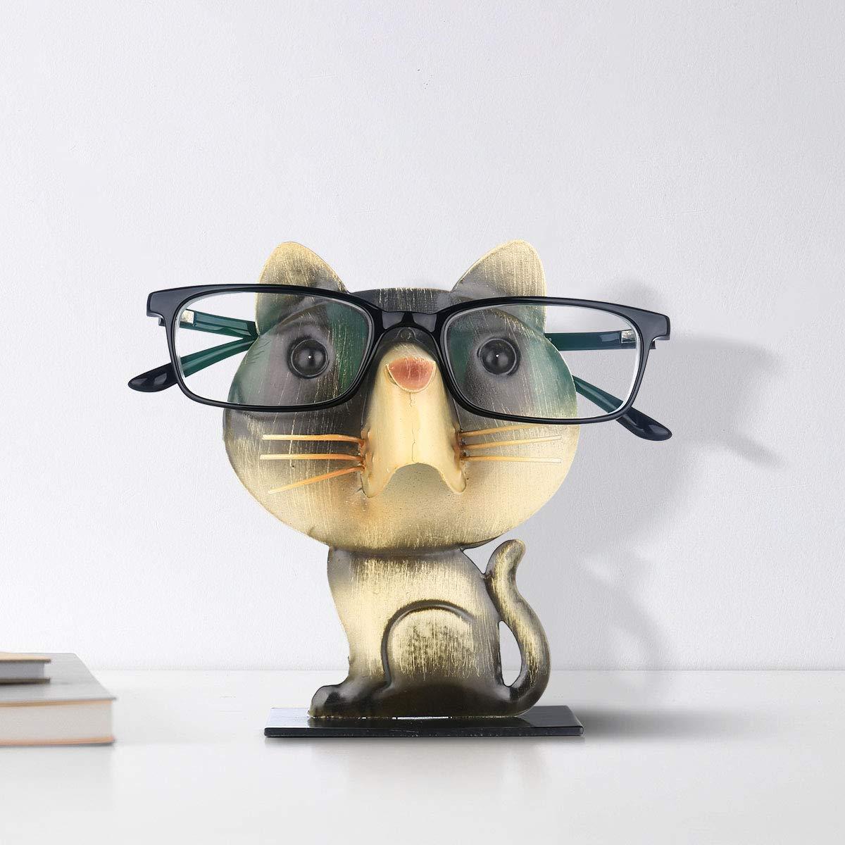 Moobeasch Support /à lunettes en forme de chat Support de lunettes Porte-lunettes en forme danimal