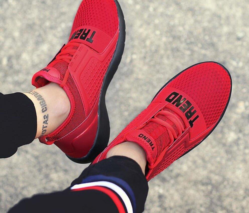 CAI Herren Mesh Turnschuhe Frühling Sommer Herbst Atmungsaktiv Komfort Komfort Komfort Freizeitschuhe Herren Leicht Laufende Sportschuhe Reise Schuhe (Farbe   Rot, Größe   43) febced