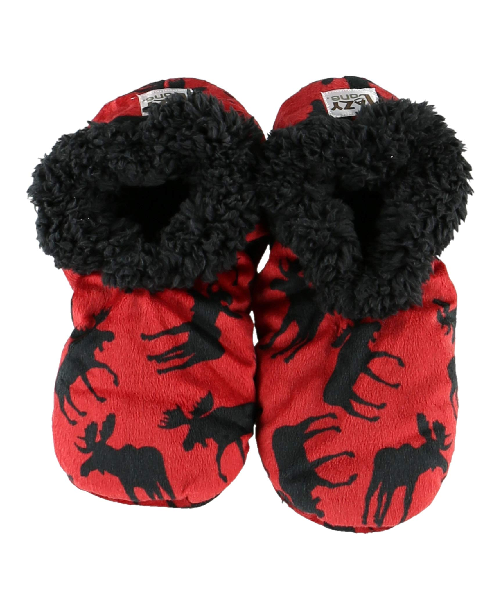 Classic Moose Womens Plush Fuzzy Feet Slippers by LazyOne | Ladies Soft Fuzzy House Slippers (S/M)