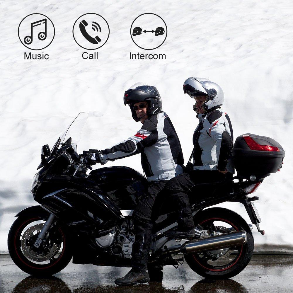 /Étanche Casque de Moto Intercom BT-S3 Intercom BT-S3 Syst/ème de Communication en Temps r/éel Radio FM Mains Libres Lot de 2 Casques durs Interphone Bluetooth
