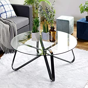 """Warmcentre Round Coffee Table 32"""" Modern Glass Coffee Table Easy Assembly Tempered Glass Table for Living Room"""