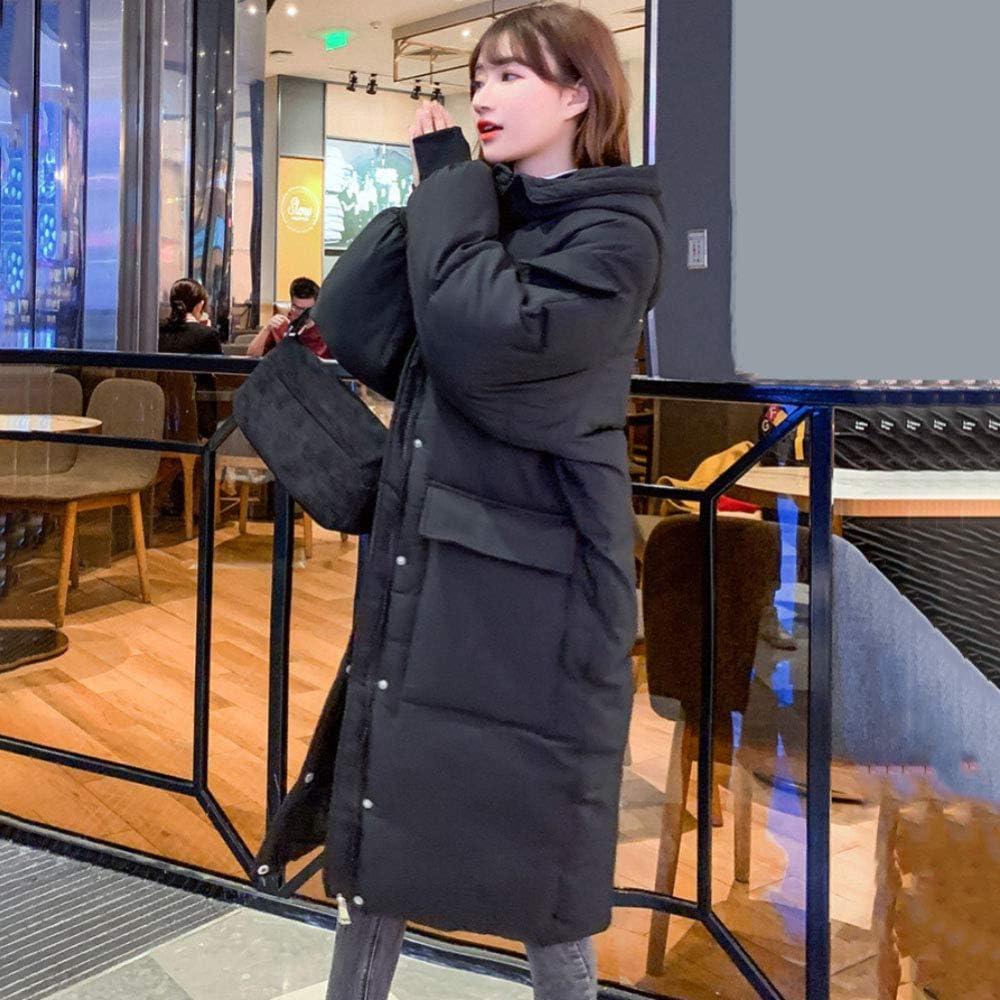 YAYT Giacca in Cotone da Donna, Cappotto Caldo A Maniche Lunghe Lungo Ispessito Casual Lungo in Cotone Coreano Black
