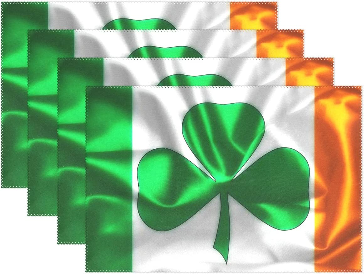 Polyester Tablemat Place Mat for Kitchen Dining Room 1 Piece LIANCHENYI Shamrock On Irish Flag Heat-resistant Placemats