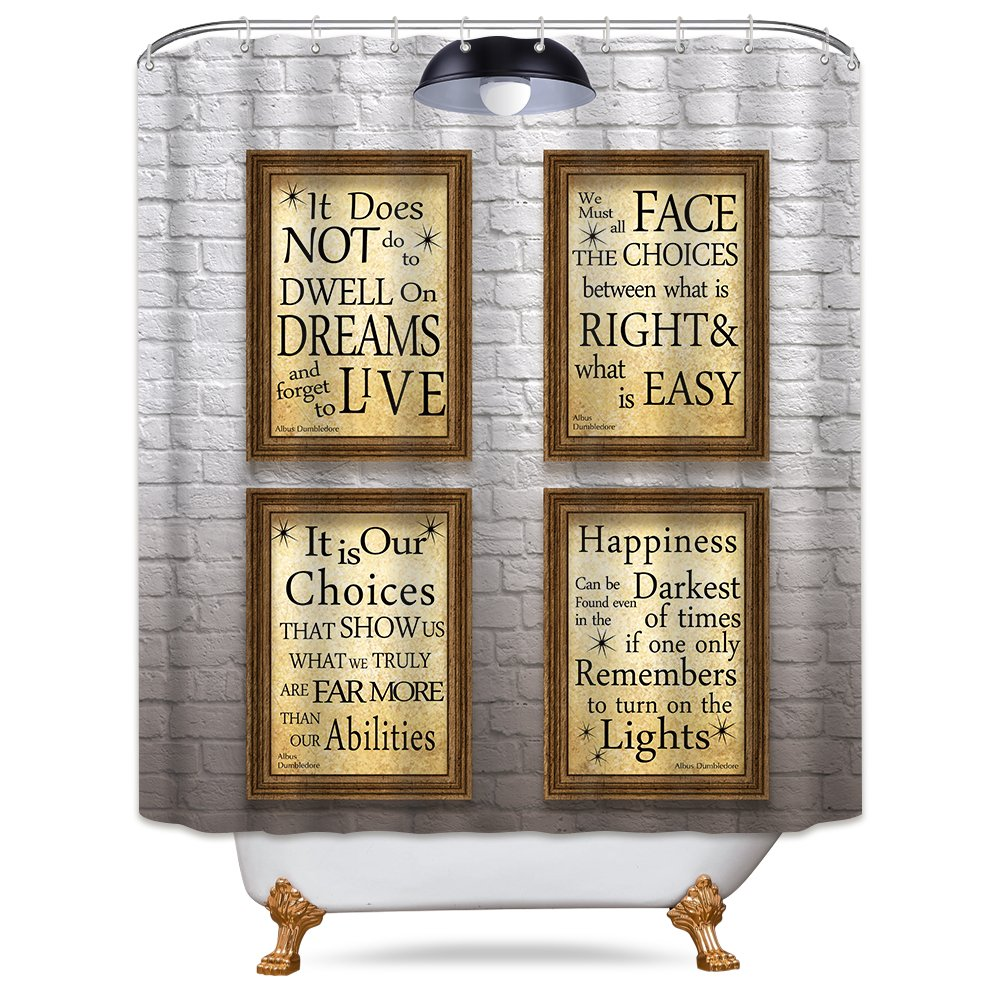 LIGHTINHOME Harry Potter Movie Hogwarts Quotes Shower Curtain Set Inspiration White Wall Polyester Waterproof Panel Decor Fabric 72x72 Inch with 12-Pack Plastic Shower Hooks