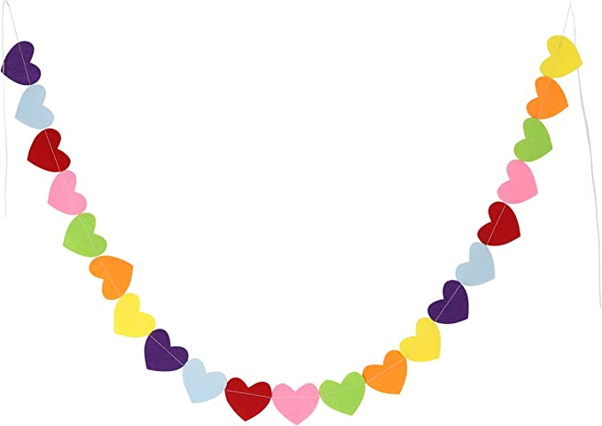 3 Pieces Valentines Day Felt Garlands Colorful Ball and Heart Garlands 6.5 Feet Long Felt Banners with 15 Pom Pom Balls and 5 Hearts for Valentines Home Office Wall Indoor Outdoor Decoration