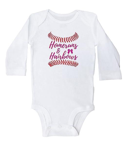 20c1ef970 Baffle Home RUN'S and Hair BOW'S/Baby Girl Baseball Onesies/Baby Bodysuit  (Newborn