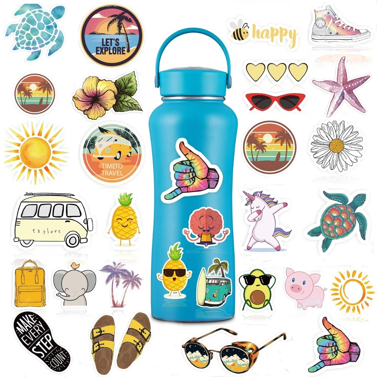 VSCO Water Bottle Stickers, 30 Pack Cute Waterproof Vinyl Stickers for Teens and Girls.Unique Cool Durable Decal Stickers, Aesthetic and Trendy Stickers for Water Bottles, Laptop, Phone.
