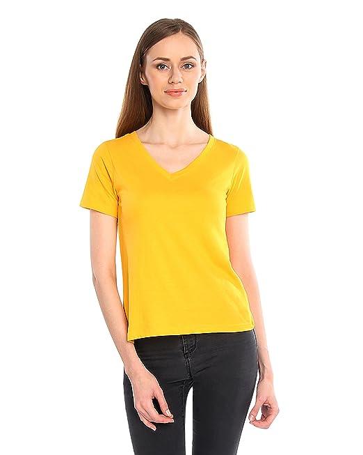 93828441 V Neck Short Sleeve Yellow Plain Cotton T-shirts for Women: Amazon ...