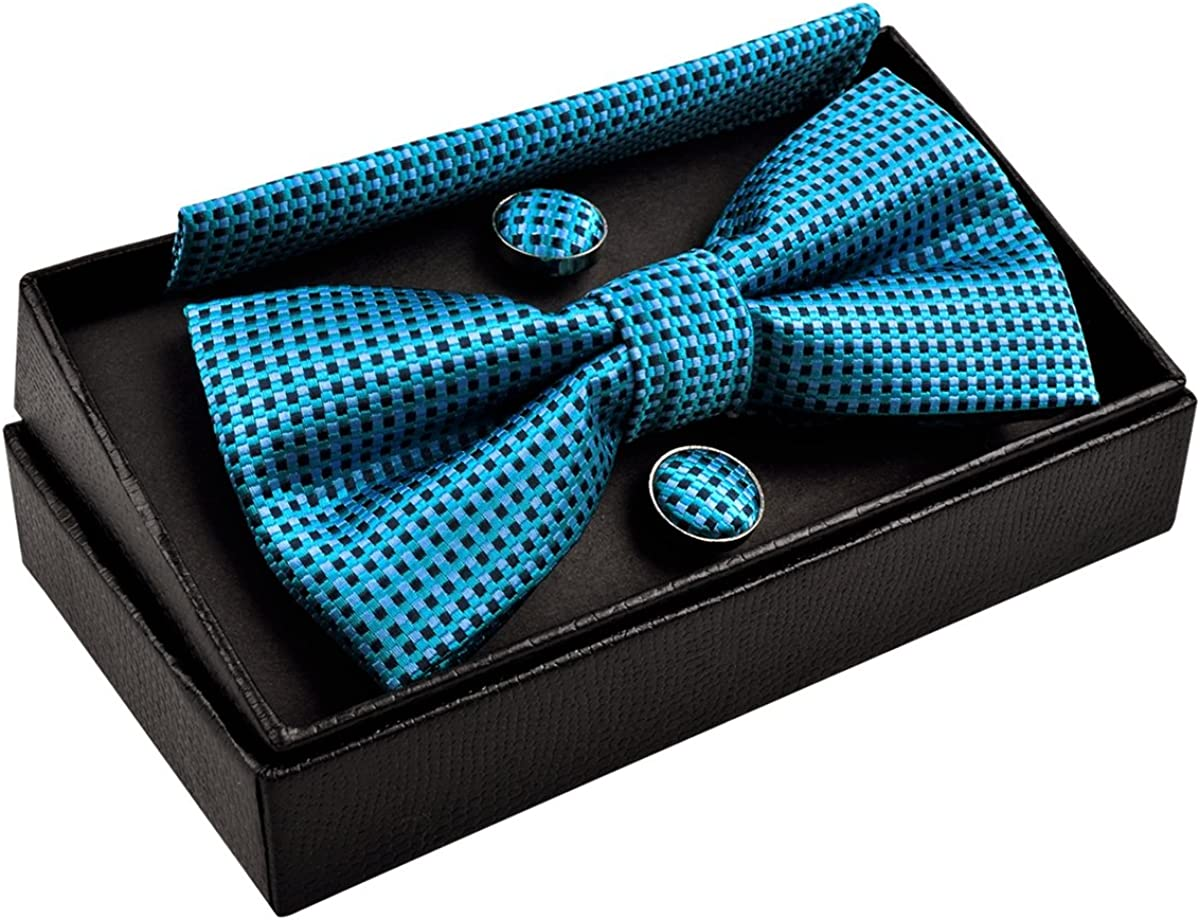 Compras Geniales Precio Asombroso Alizeal Cuadros-Pajarita, Pañuelo y Gemelos para Hombre Azul 8Ofwd4 LLzNk9