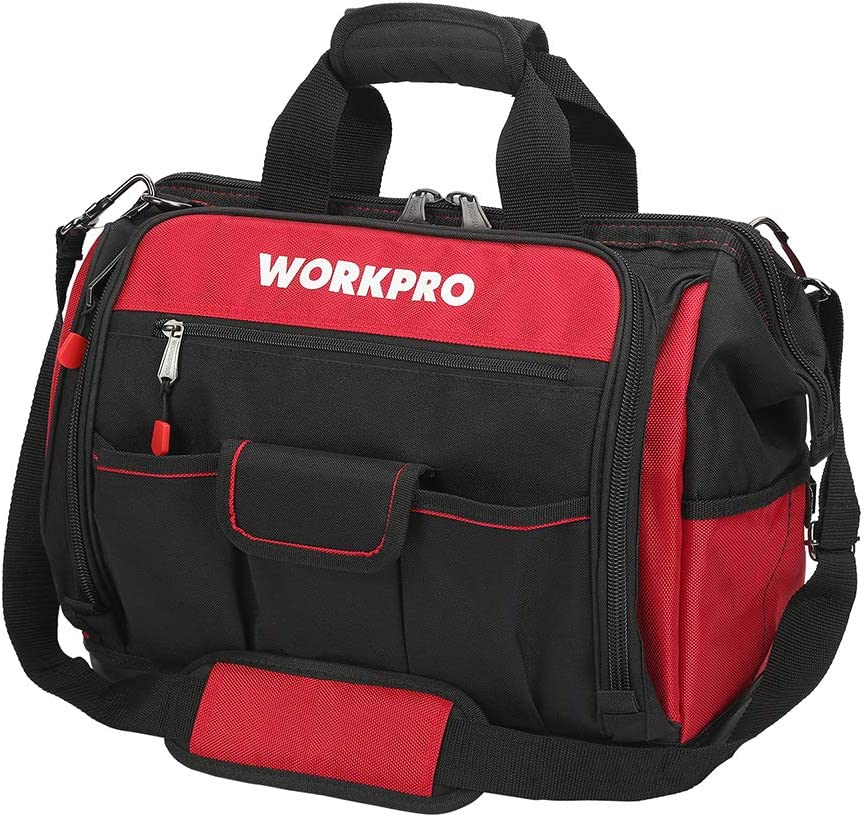 """WORKPRO 16"""" Top Wide Mouth Tool Bag with Water Proof Rubber Base, Multi-Compartment, 46 Pockets, For Tool Organizer & Storage, W081122A"""