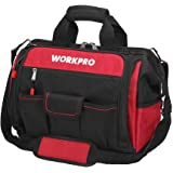 "WORKPRO 16"" Top Wide Mouth Tool Bag with Water Proof Rubber Base, Multi-Compartment, 46 Pockets, For Tool Organizer & Storage"