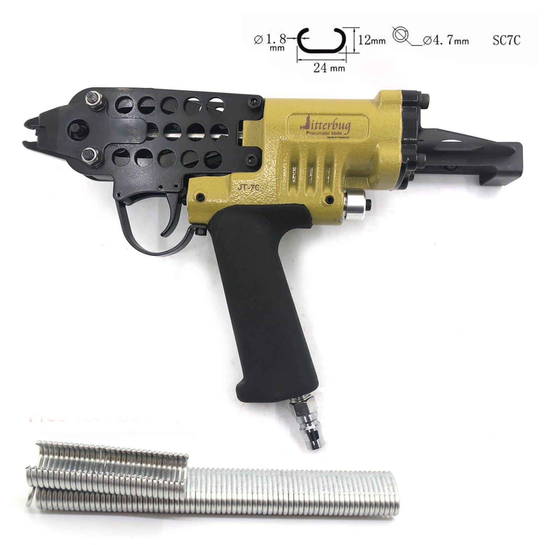 Jitterbug Pneumatic Air 15GA Gauge C-Ring Tool Hog Ring Plier Gun 3/4'' SC7C Stapler for Mattress Closure Auto Upholstery by Jitterbug