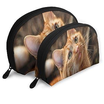 211437f80df5 Amazon.com : Makeup Bag Cat Cute Funny Handy Half Moon Toiletry Bags ...
