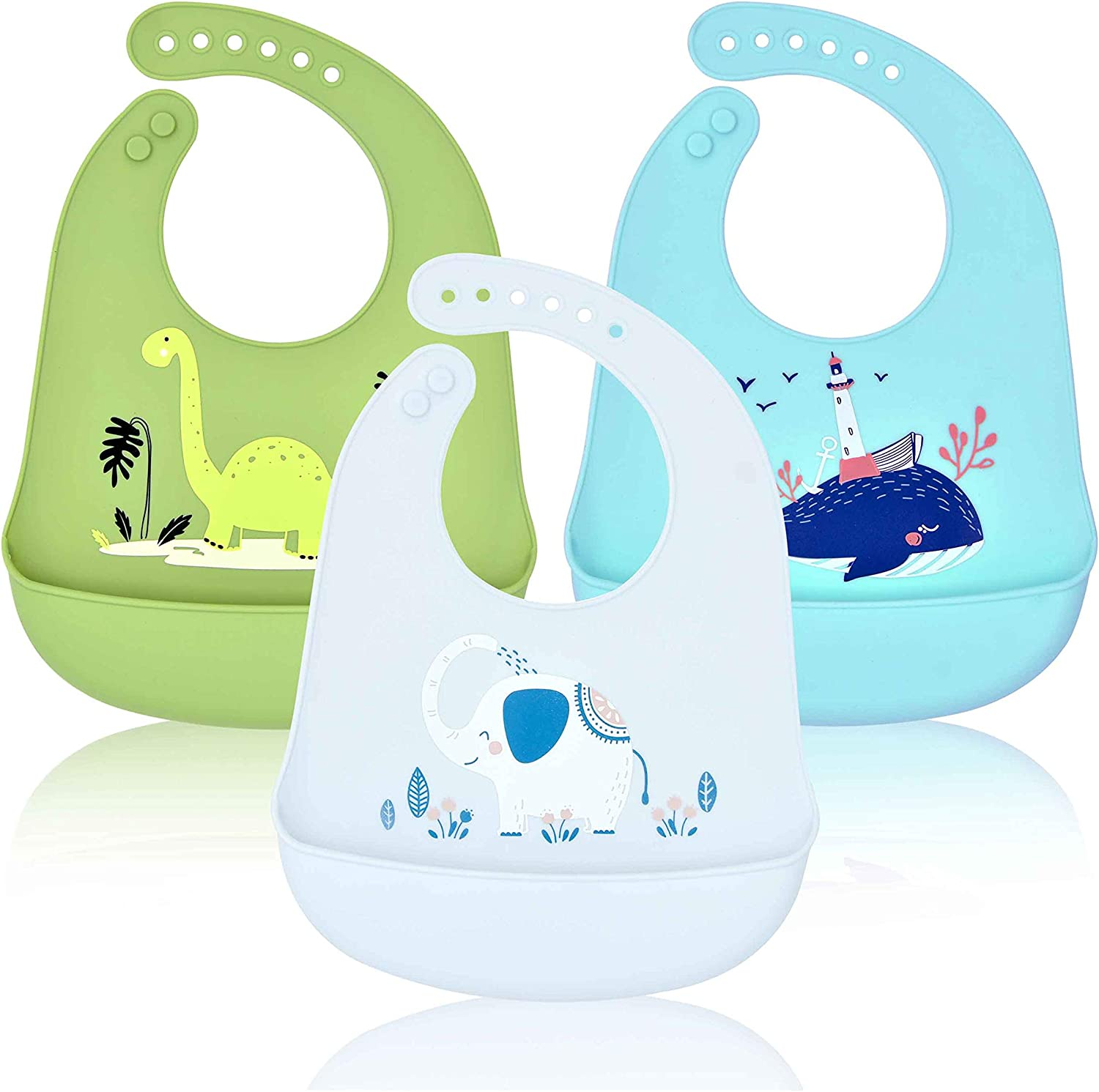 Eco Friendly  Wipe off Baby Drool Bib Silicone Waterproof Roll up New Bib