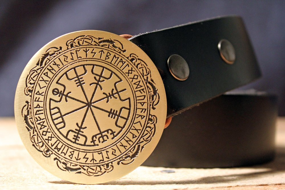 Viking Compass Vegvísir NORSE Belt Buckle Etched Metal
