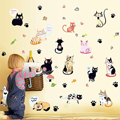 Wallpark Cartoon Cute Funny Pet Cat Footprint Removable Wall Sticker Decal, Children Kids Baby Home Room Nursery DIY Decorative Adhesive Art Wall Mural: Baby