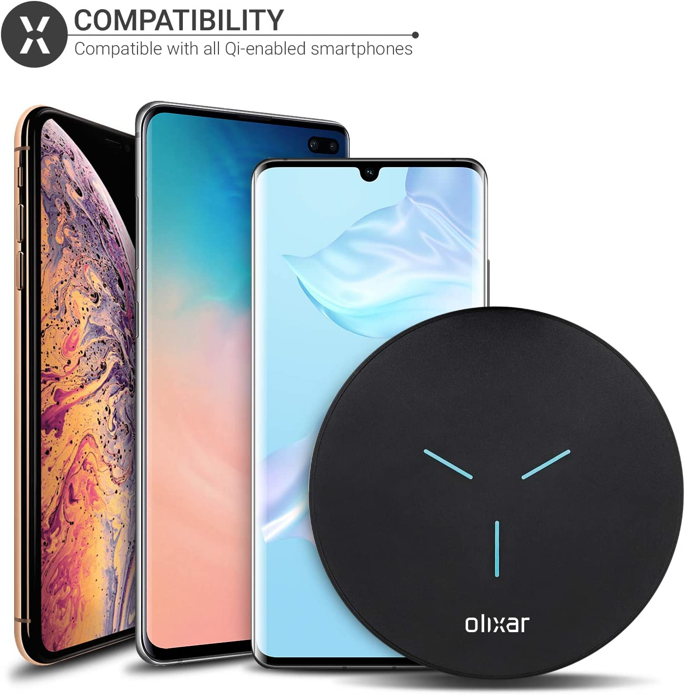 Olixar 10W Wireless Charging Pad 10W Fast Charging Pad Compatible with All Qi Enabled Smartphones Black Ultra Slim LED Indicator