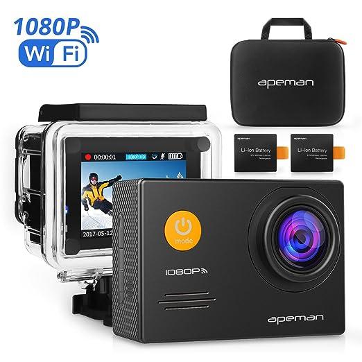 122 opinioni per Apeman A70 Action Cam Sport WiFi con Custodia Impermeabile, Full HD 1080P, 14MP,