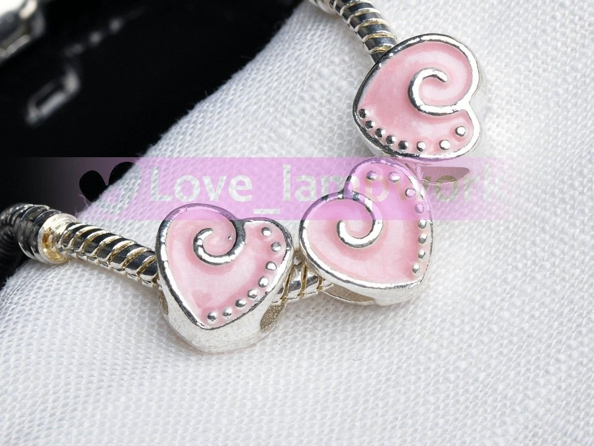103-3 Light Pink 3pcs Murano Big Hole Loose Spacer Beads Charms fit European Bracelet Jewelry by love_lampwork (Image #1)