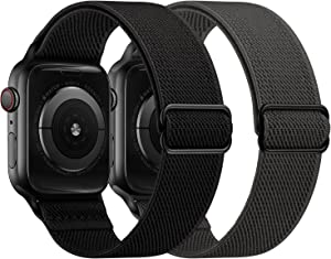 OUHENG 2 Pack Stretchy Band Compatible with Apple Watch Bands 44mm 42mm 40mm 38mm, Elastic Braided Nylon Sport Stretch Solo Loop Strap for iWatch SE Series 6/5/4/3/2/1, Black/Dark Gray, 44/42mm