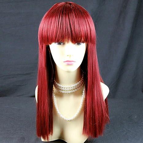 Peluca larga roja para mujer, color borgoña, ...