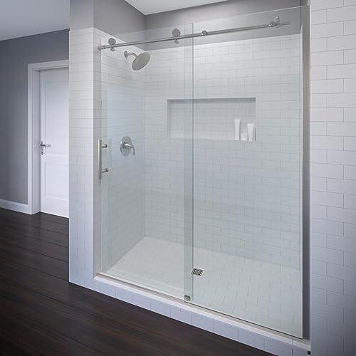 Basco Vinesse Frameless Sliding Shower Door, Fits 45-47 in. Opening, AquaGlideXP Clear Glass, Brushed Nickel Finish
