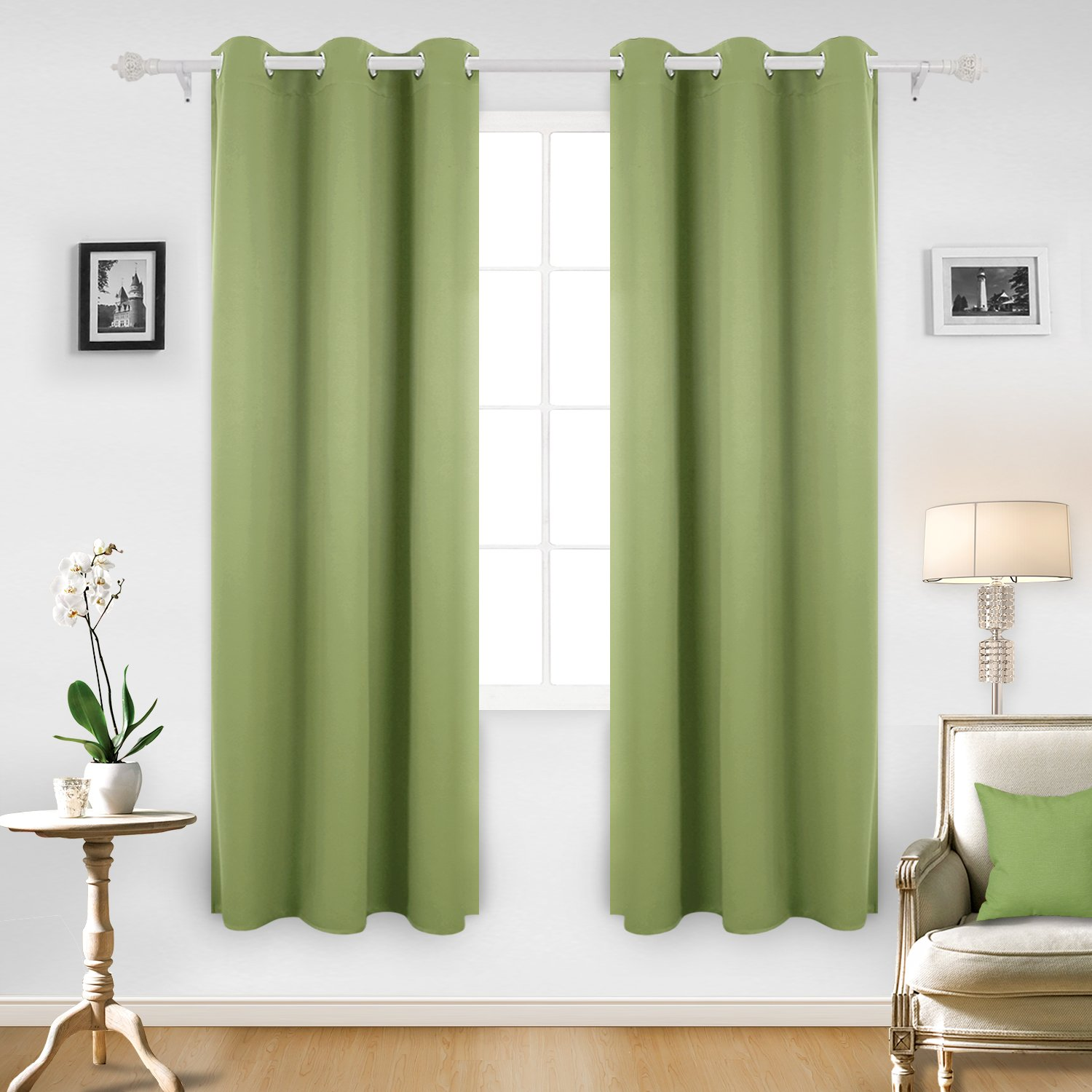 Deconovo Room Darkening Thermal Insulated Blackout Grommet Window Curtain Panel For Bedroom Room Nile