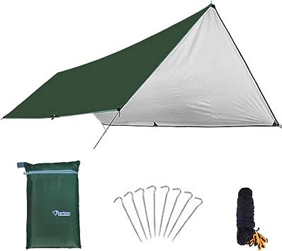 Azarxis Toldo Impermeable de Tienda de Campaña Ligero UV Protección Refugio con Accesorios para Acampar Mochilero Picnix Aventura al Aire Libre