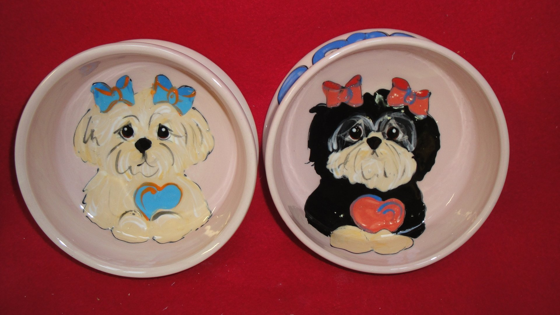 Lhasa Apso 8'' and 6'' Pet Bowls for Food and Water. Personalized at no Charge. Signed by Artist, Debby Carman.