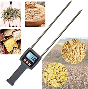 Huanyu Multifunctional Fibre Moisture Meter 0-80% Probe Humidity Tester Water Content Analyzer for Measuring Hay Tea Corn Stalks Rice Straw Bran Soybean Meal Grains TK100