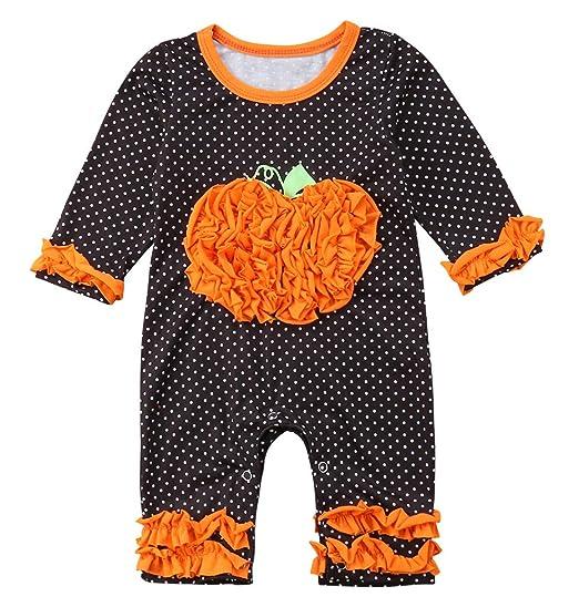 666f7c717a4 Baby Boy Girl Long Sleeve Halloween Romper Baby Costumes Jumpsuit Pumpkin Ruffle  Sleeve Sleepwear Pajama (