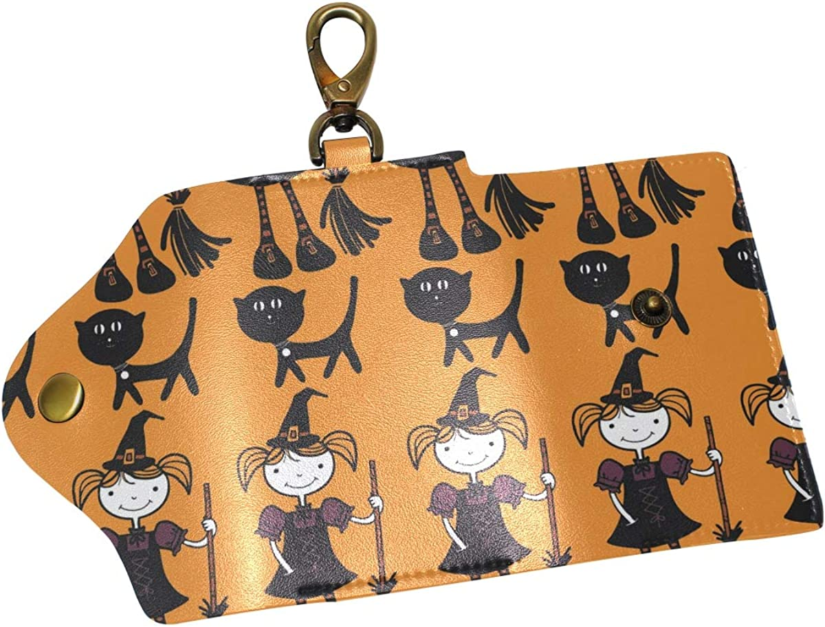 KEAKIA Witches And Cats Leather Key Case Wallets Tri-fold Key Holder Keychains with 6 Hooks 2 Slot Snap Closure for Men Women