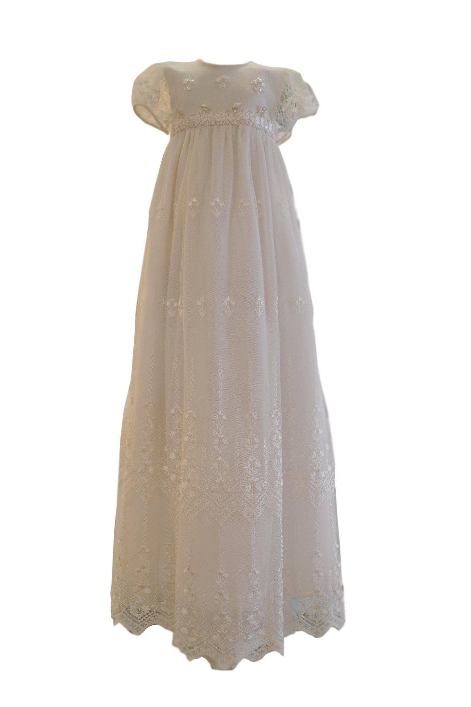 New Deve Newdeve Baby's White Tulle Cotton Inner Embroidery Floral Beading Long Christening Baptism Gown (White, Preemie)