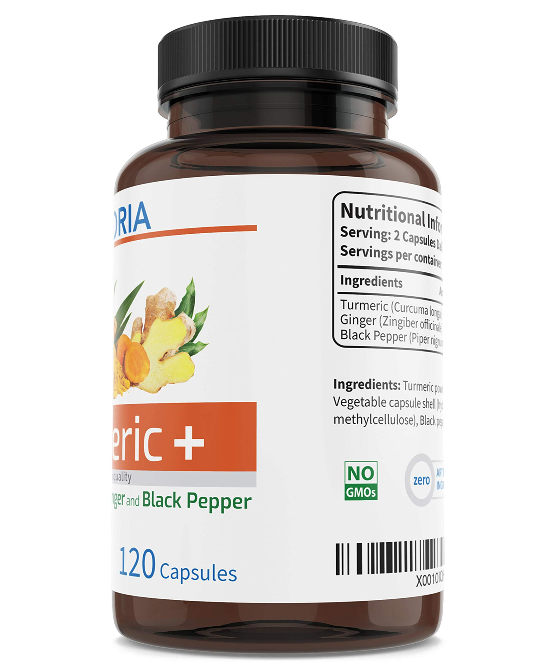 Turmeric + Ginger + Black Pepper for the maximum absorption of Curcumin - Natural Curcuma Longa Root - Antioxidant for Inflammation of the Joints - 1250mg 120 Capsules - Non-GMO Gluten-free Vegan - UK