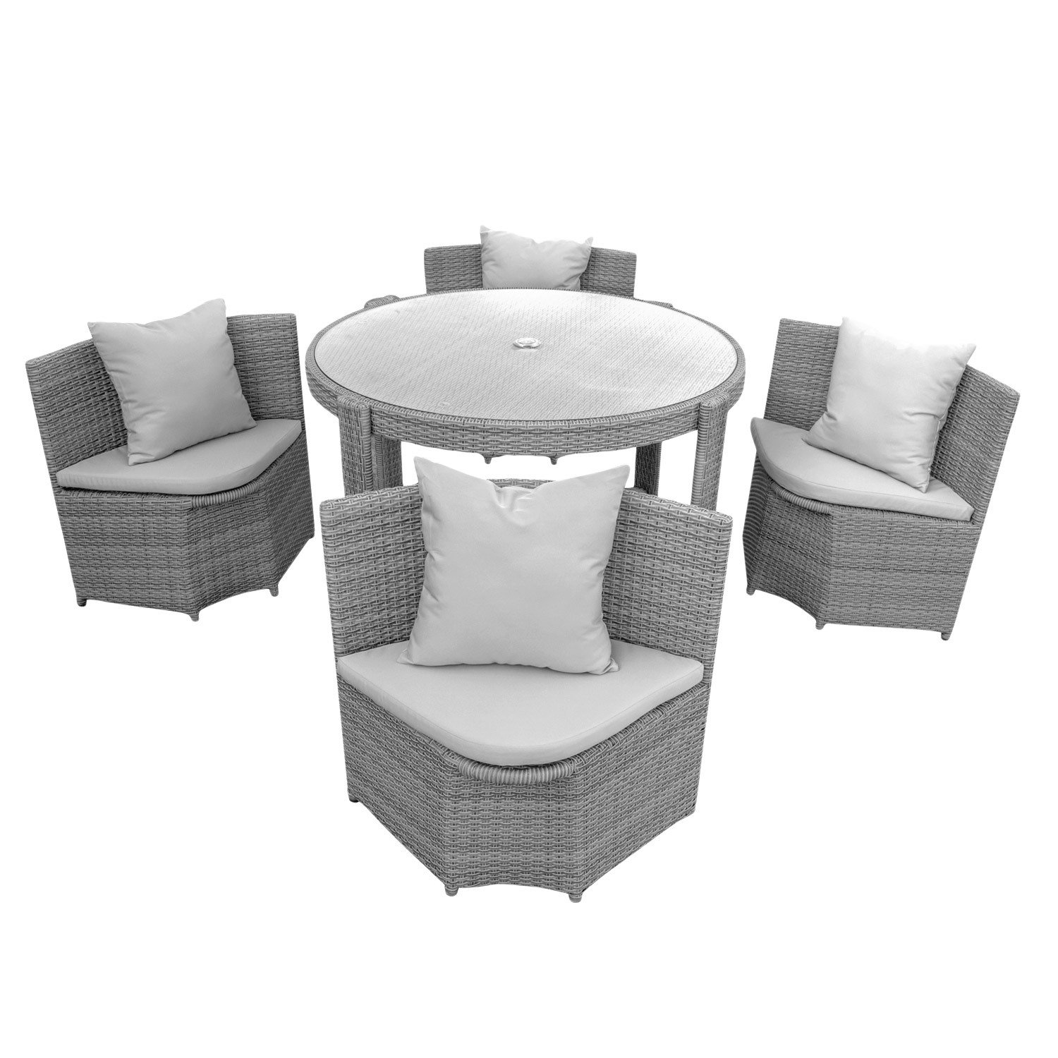 gartenm bel sitzgruppe m bel balkon terrasse polyrattan 1 tisch 4 st hle polster grau. Black Bedroom Furniture Sets. Home Design Ideas