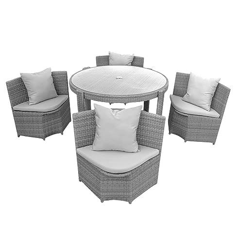 Marvelous Gartenmöbel Sitzgruppe Möbel Balkon Terrasse Polyrattan 1 Tisch + 4 Stühle  + Polster (Grau)