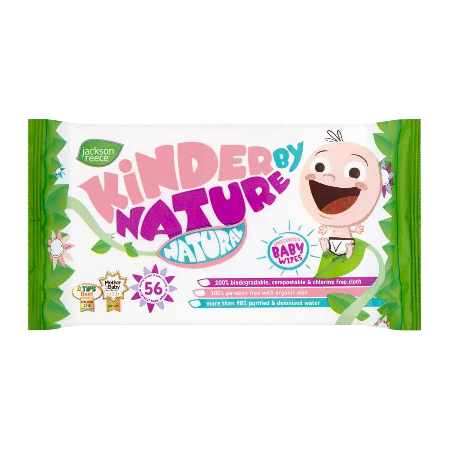 Kinder by Nature Water-Based Baby Wipes – 100% Biodegradable & Compostable, 224 Count (4 Packs of 56) – 99% Water, 0…